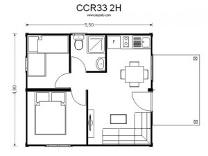 casas modulares economicas CCR 33 2H