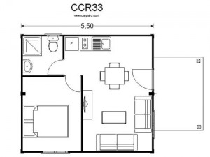 plano de casas económicas de madera plano CCR 33