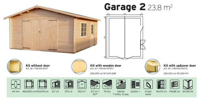 garaje madera  para jardín garage 2 Casas Carbonell