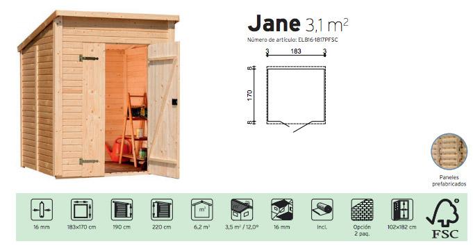 caseta de madera barata Jane