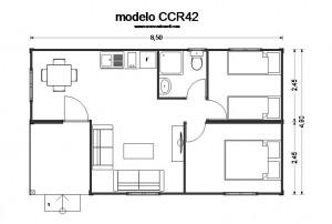 Plano de casas modulares prefabricadas CCR42