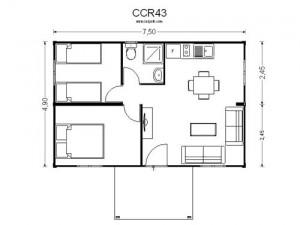 Plano de casas modulares en madera CCR 43