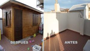 Casetas de madera y anexos auxiliares en terrazas